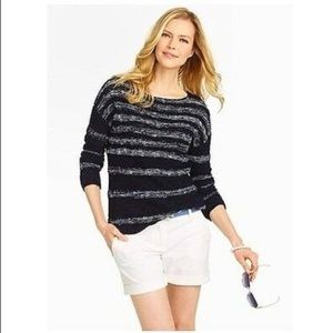 Talbots Heavy Knit Navy Striped Boatneck Sweater